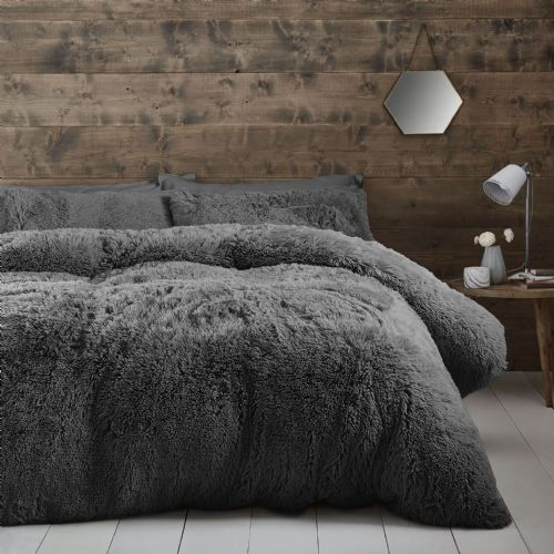 Catherine Lansfield Cuddly Charcoal Bedding Set